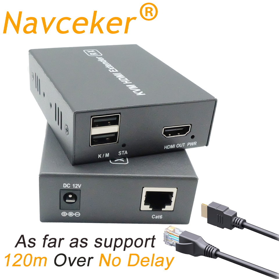 Navceker 400ft USB HDMI KVM Extender with POE Lossless No Delay RJ45 USB KVM HDMI Extender