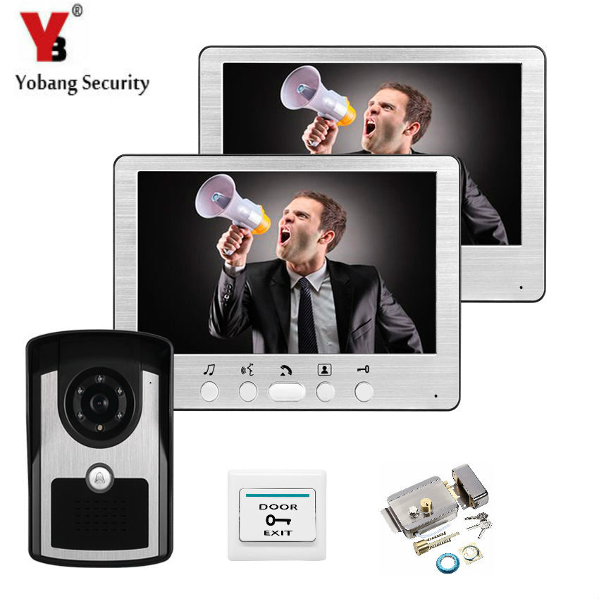 YobangSecurity 7Inch LCD monitor Speakerphone intercom Video Door Phone doorbell access Control System doorphone With Door Lock