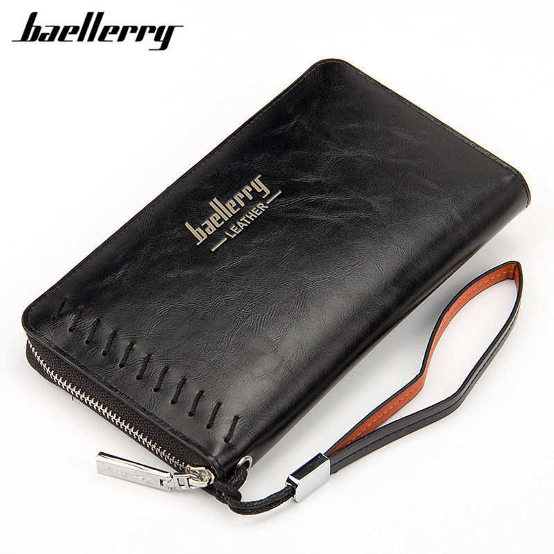 Baellerry 2017 Handbag Men Wallet Long Large Capacity Leather Wallets For Male Business Brown Clutch Zipper Wallet Bags Purses 2015 famous brand mens genuine leather business wallet man male multifunction large capacity clutch bag handbag wallet purses