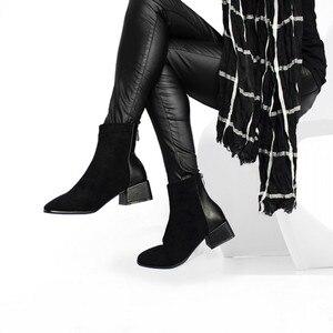Image 1 - רוני Bouker פו זמש קרסול מגפי נשים עקבים עבה קטיפה נעל אישה שיק נעלי גברת חום שוקולד אתחול ботинки женские