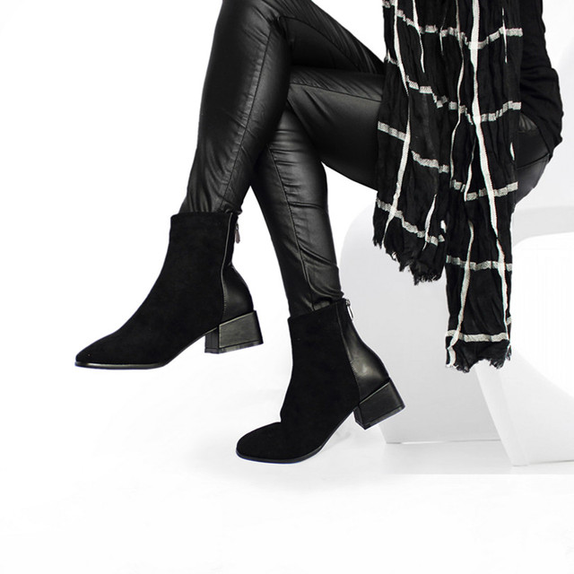 ขาย Faux Suede รองเท้าผู้หญิง Chunky รองเท้าส้นสูงรองเท้า Plush Square Toe แฟชั่นรองเท้าสีดำสีน้ำตาลของขวัญ Dropshipping
