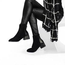 Roni Bouker Faux Suede Ankle Boots Women Chunky Heeled Plush Shoe Woman Chic Sho