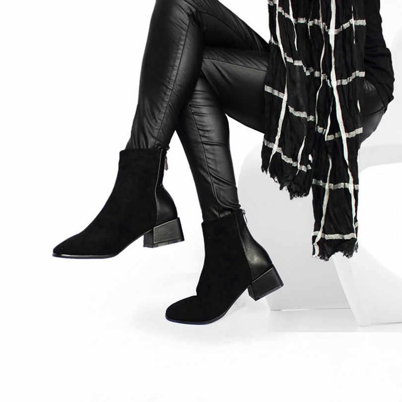 Roni Bouker Faux Suede รองเท้าผู้หญิง Chunky รองเท้าส้นสูง Plush รองเท้าผู้หญิง CHIC รองเท้าสีน้ำตาลช็อกโกแลต BOOT ботинки женские