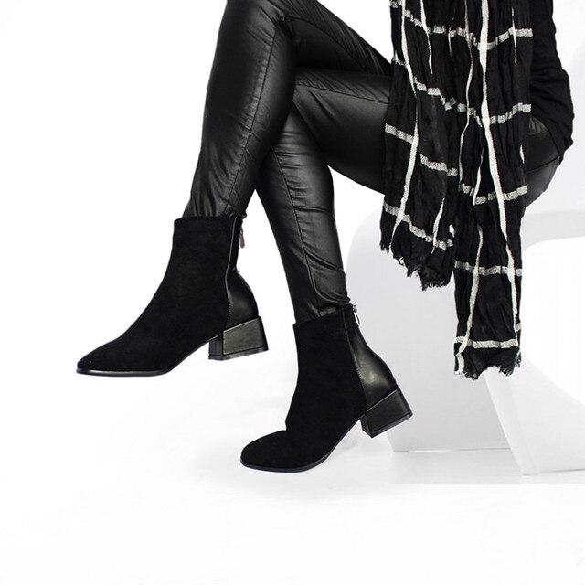 Verkauf Faux Wildleder Stiefeletten Frauen Chunky Mit Hohen Absätzen Plüsch Schuhe Karree Dame Mode Schuh Schwarz Braun Geschenk Dropshipping