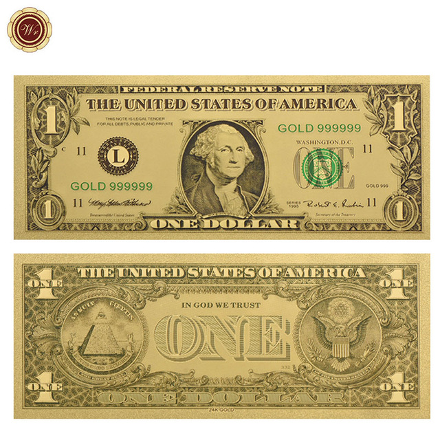 wr luxury 24k gold plated american banknote one doller golden paper