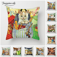 Fuwatacchi Animals Painting Cushion Covers Cute Cats Dog Life Paradise Pillow Covers For Home Chair Decor Flowers Pillowcases цены