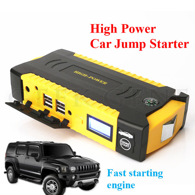 New High Capacity 16000mAh 12V Car Jump Starter Portable 4USB Power Bank Mini Compass SOS Lights 600A Peak Auto EPS Free Ship