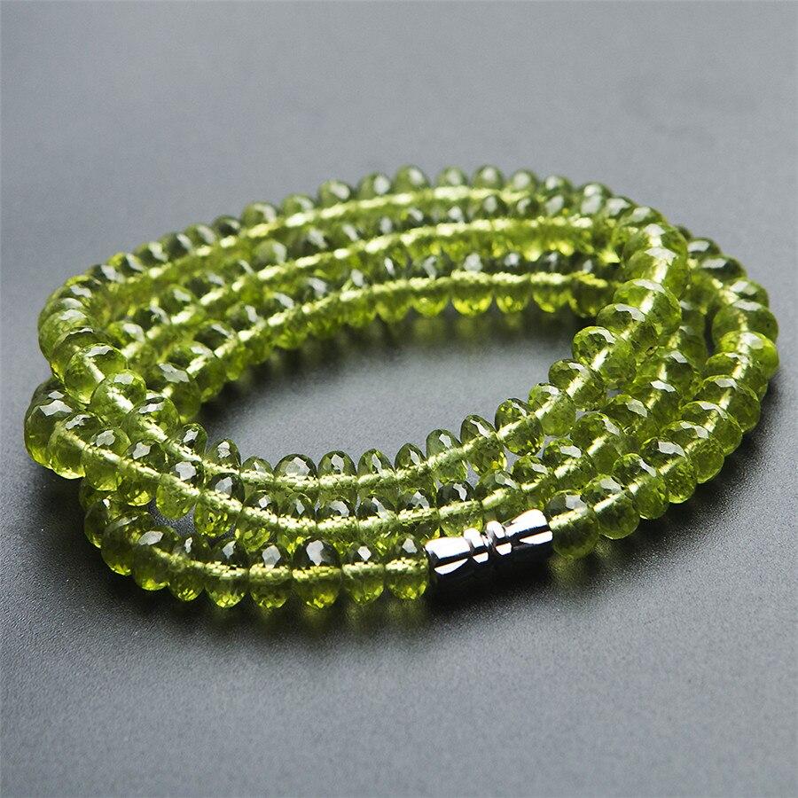 Véritable péridot vert naturel Olivine à facettes perles de cristal femmes charme collier AAAAA 6mm