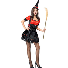 New Arrival Adult Woman Black Red Sexy Witch Halloween Costume Cosplay