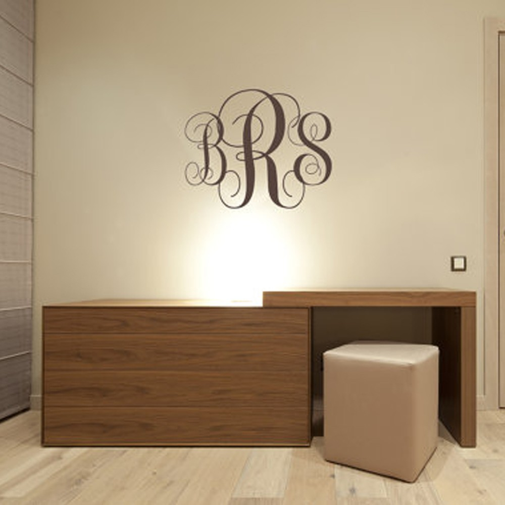 Monogram Initials Wall Decal Personalized Nursery Vinyl Art Letters In Stickers From Home Garden On Aliexpress