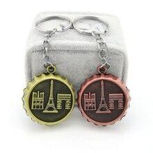 LLavero de oro Vintage con diseño de Torre Eiffel para mujer, llavero de recuerdo para regalo