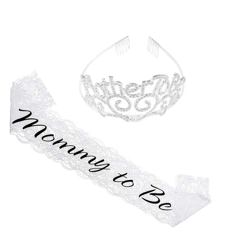 Mother to Be Tiara Crown Mommy to Be sash for Baby Shower boy girl Gender Reveal Future Expecting Mom Accessory Decoration Gift
