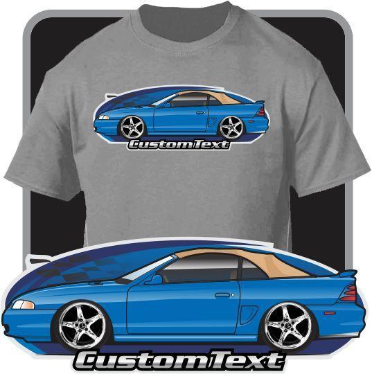 Print Men T Shirt Summer Custom Art Tee 95-98 Rag Top Up Convertible Mustang GT Not Affiliated W American Classic Car Fans Tee