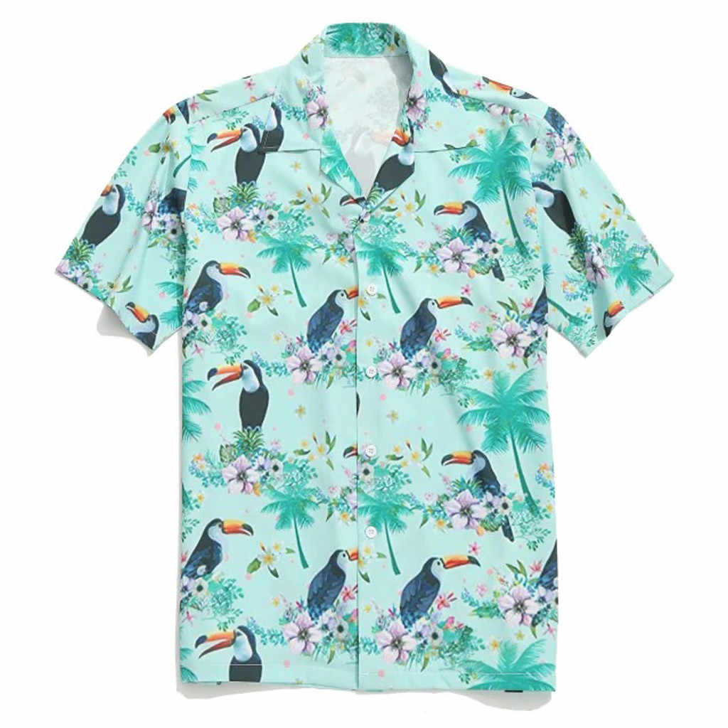Zomer Heren Shirt Animal Gedrukt Shirt Mannen Casual Korte Mouw Tops Mannen Mode Shirts 2019 Verkoop