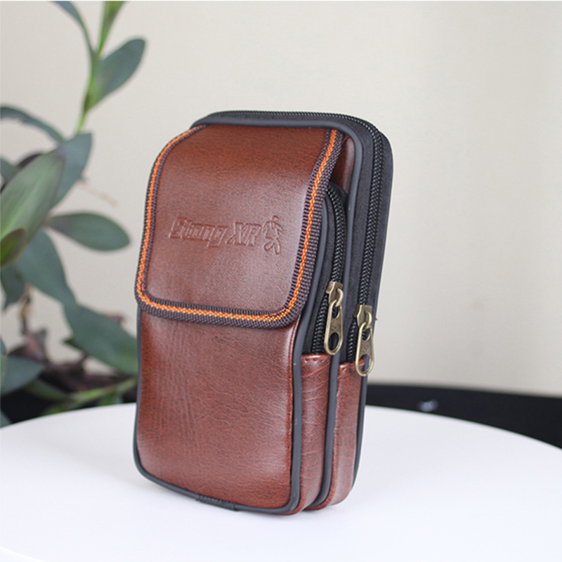 Men Outdoor Vintage PU Leather Mini Bag Multifunction Coin Waterproof Phone Wallet High Quality Waist Belt Small High Quality