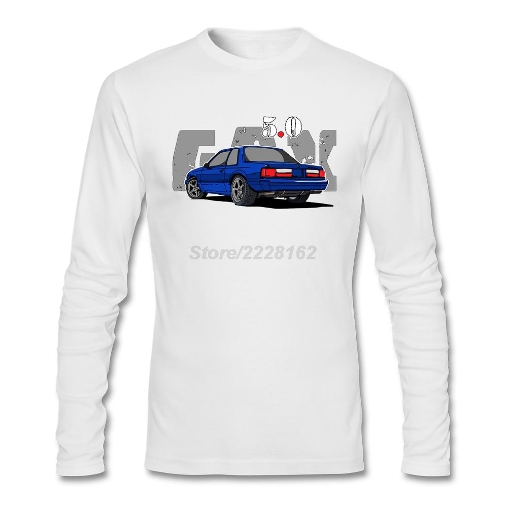 Desain t shirt unik - 5 0l Fox Tubuh Notch Kembali Shirts Mens Baik Pilihan Besar Biru Mobil Tees