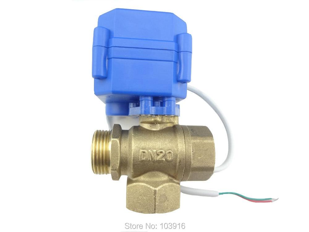 3 way DN20(reduce port) motorized ball valve , electric valve(L port), valve, MS-3-20-12V-L-R01-1