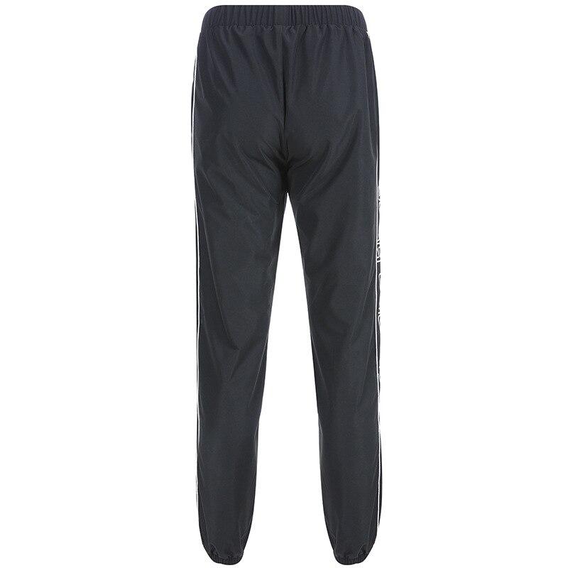 Streetwear Hip Hop Black Cargo Pants Women Casual Joggers Summer Trousers Side Stripe Letter High Waist Women