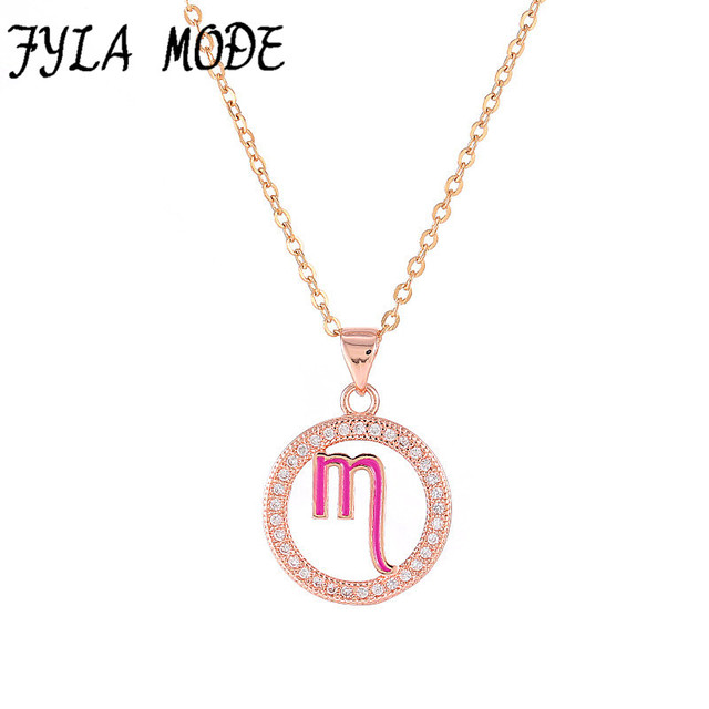 Fyla mode zodiac scorpio pendant necklace simple design jewelry gift fyla mode zodiac scorpio pendant necklace simple design jewelry gift micro pave zircon goldsilver mozeypictures Images