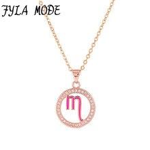 Fyla Mode Zodiac Scorpio Pendant Necklace Simple Design Jewelry Gift Micro Pave Zircon Gold/Silver Color Necklace For Women