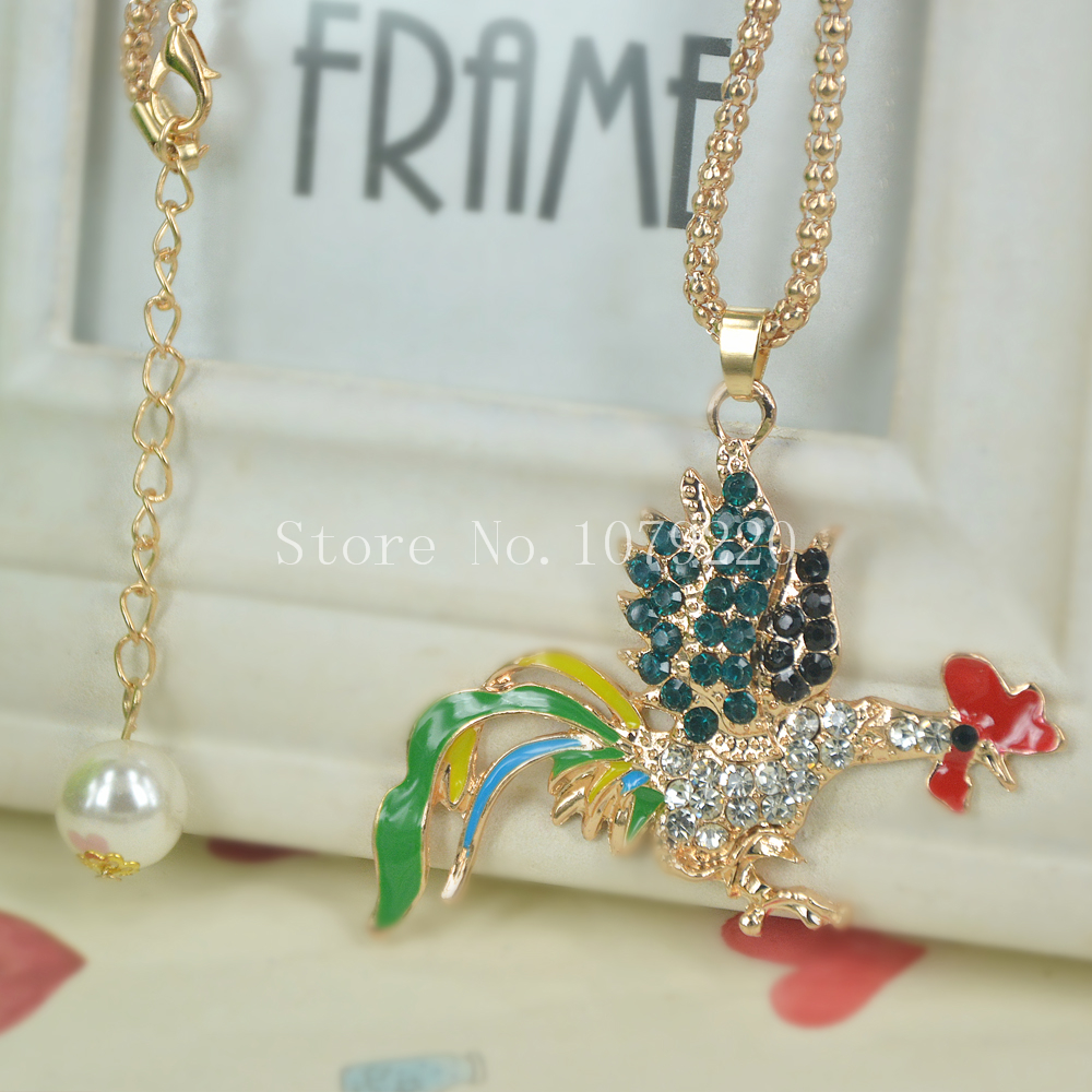 Cock Zodiac Sweater Beads Necklace Jewelry Crystal Women Long Necklace Pendants Rhinestone Chain Christmas Valentines Gift