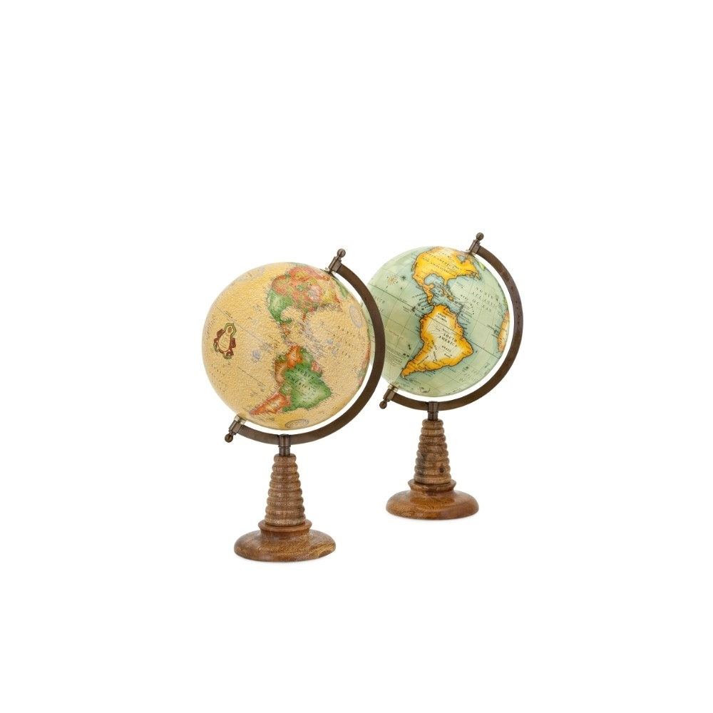 8 Contemporarily Charmed With Vintage Appeal 2 Assorted Globes, Multicolor