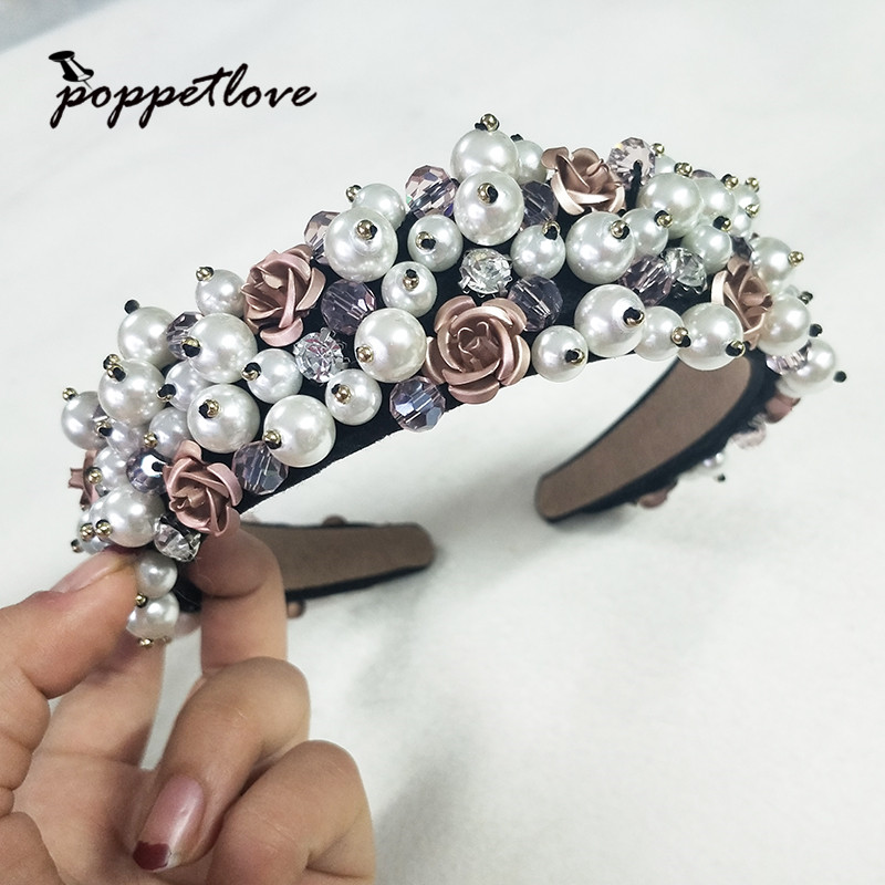 New Fashion Lovely Girl Purple Rose Flower Gold Crown Headband Floral Garlands Hairband Headdress Hair Accessories 13 colors lovely girls print floral rabbit ears hairband turban knot headband hair band accessories