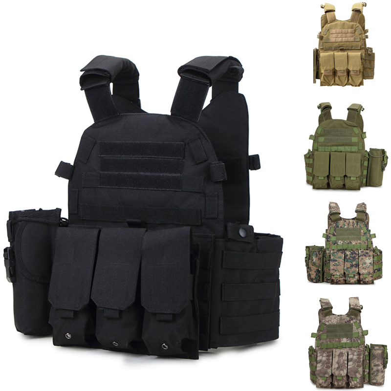6094 Tactical Vest CS Paintball Airsoft Outdoor Combination Vest Military Army Training Combat Protection Vests black chrome saddlebag bracket set for harley touring electra glide road glide flht fltr 1997 2008