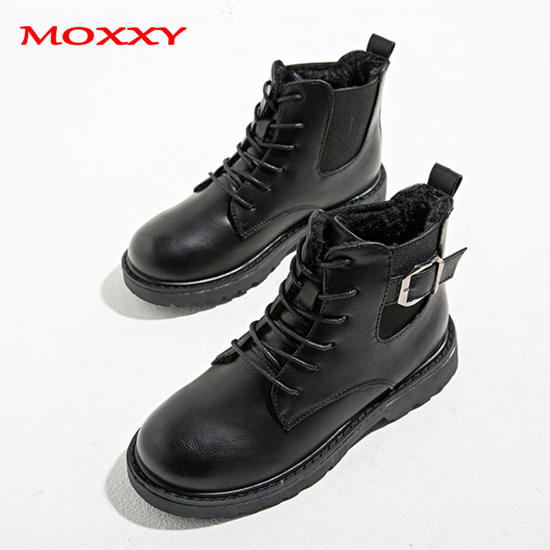 2019 New Ladies Combat Boots Women Lace Up Gothic Black Chelsea Boot Leather Martin Ankle Boots Women Shoes Platform Botas Mujer in Ankle Boots from Shoes