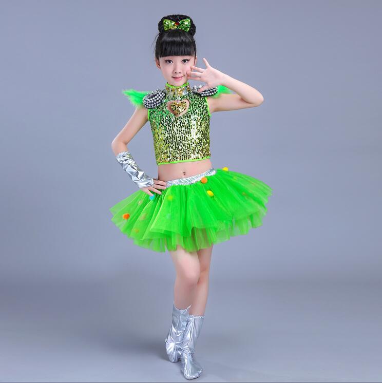 Детская одежда с блестками для бальных танцев, джаз, хип-хоп, сценическая одежда, костюмы для выступлений, одежда, топ, рубашка, шорты, сценическая одежда для мальчиков и девочек, танцевальные костюмы - Цвет: Зеленый