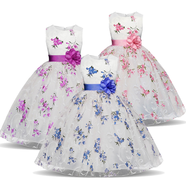 6d62f149a3c Flower Girls Dress For Wedding Party Girl Summer Frocks Children Princess  Costume For Kids Clothes Tutu Baby Birthday Dresses 6T