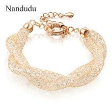 Nandudu envuelto crystal Regalo de la Joyería de Moda chapado en oro Pulsera del Acoplamiento neto B235
