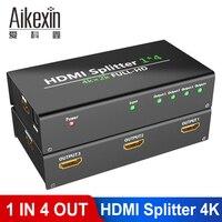 Aikexin Ultra HD 4K 4 Way HDMI Splitter 4K 1 IN 4 Output HDMI Switch Switcher 1x4 Video Splitter 3D for DVD HD TV PS3 Xbox