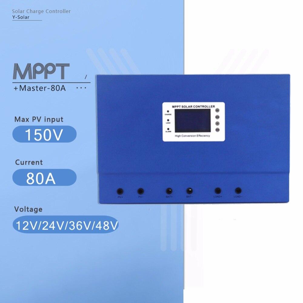 Master-80A MPPT Solar Panel Battery Charge Controller 12V 24V 36V 48V Auto PV Regulator with Self-cooling and High Intelligent