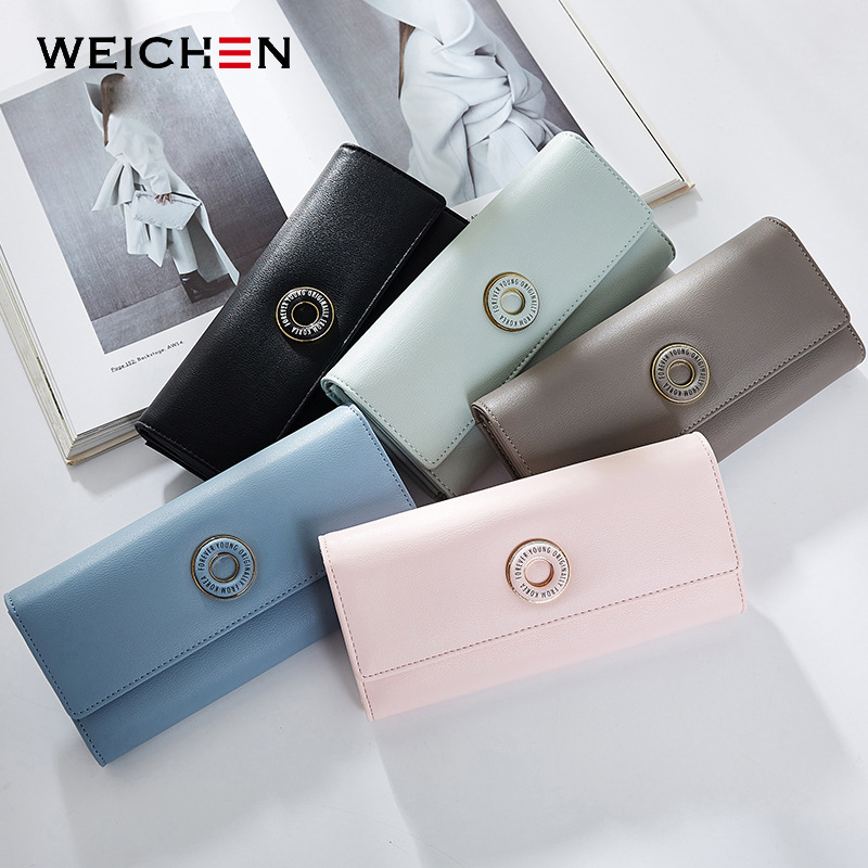 WEICHEN Many Departments Women Wallets Card Holder Coin Cell Phone Pocket Ladies Clutch Purse Long Leather Brand Female Wallet in Wallets from Luggage Bags