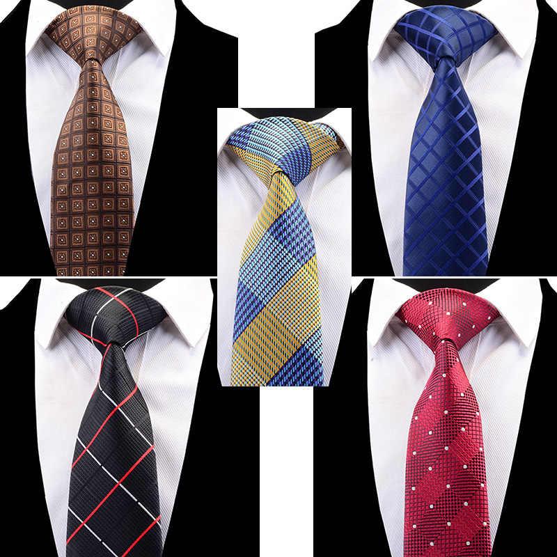 RBOCOTT dei Nuovi Uomini di Disegno di Modo del Plaid Cravatta Classica Cravatta A Righe 8 cm Rosso Blu Marrone Collo Cravatta Per Le Imprese accessori di cerimonia nuziale