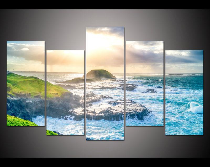 Nový 5 panelů velké hd tištěné olejomalba plážové modré vlny plátno tisk obraz domácí výzdoba nástěnné umění obrázek do obývacího pokoje