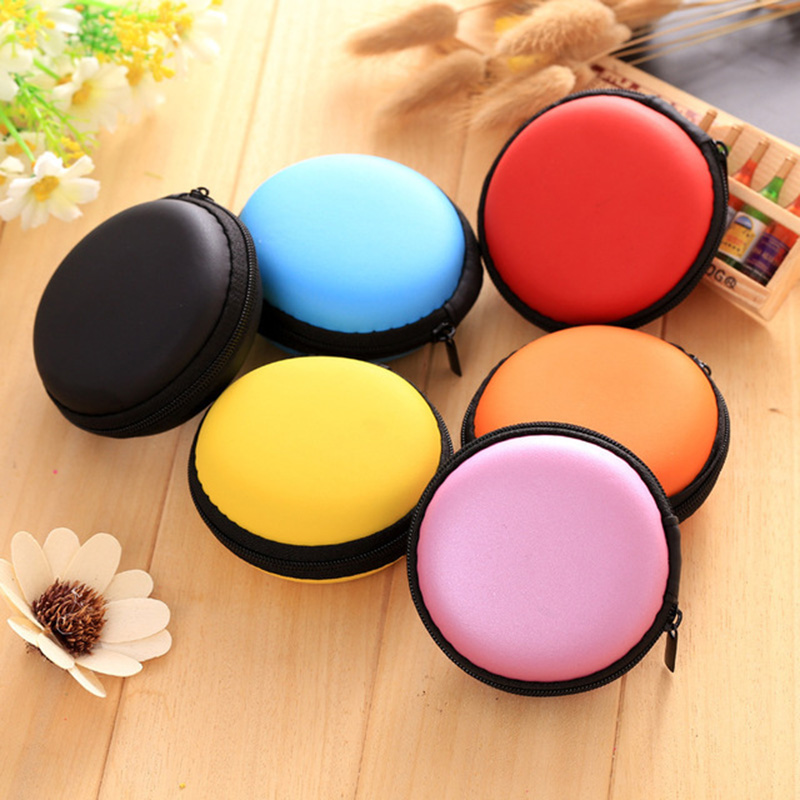 Fashion Portable Mini Round Silicone Coin Purse Bag For Earphone SD Cards Cable Cord Wire Storage Key Wallet Solid Color