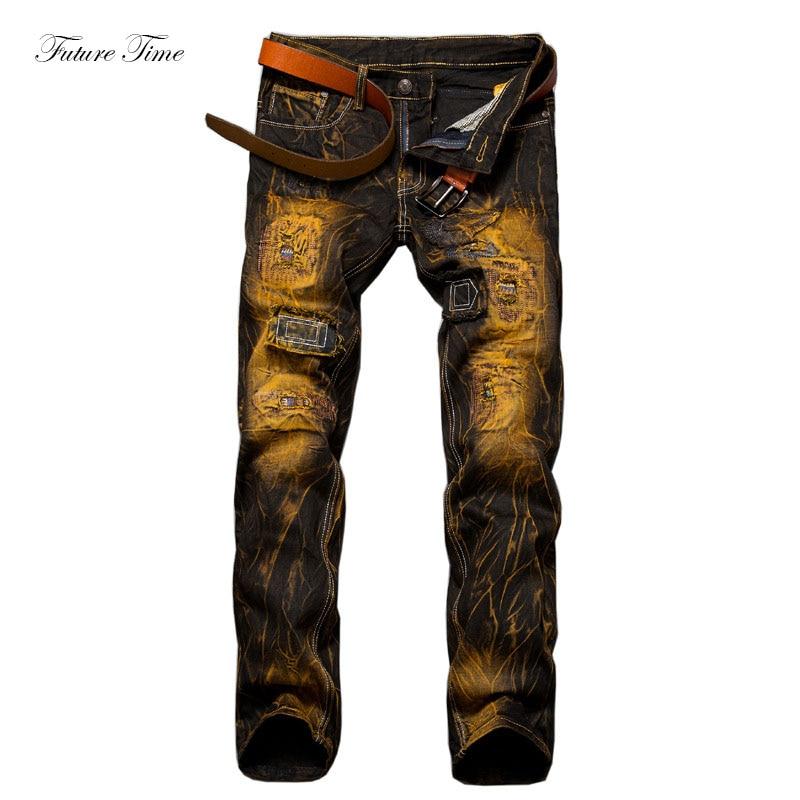 Men Jeans Ripped Jeans For Men Vintage Mid Waist Slim Skinny Jeans Moustache Effect Stra ...