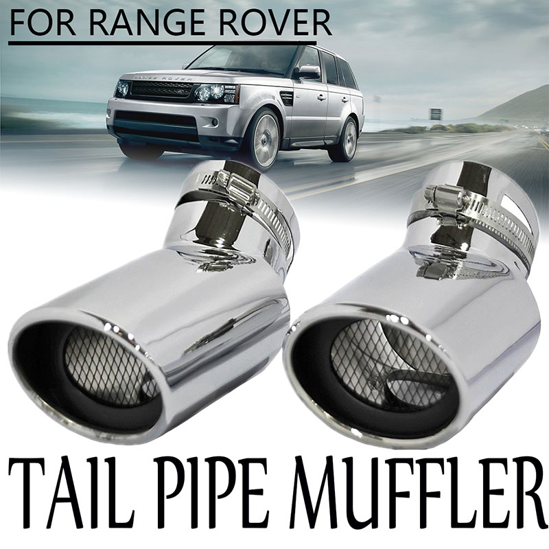2* Steel Exhaust Muffler Tip Pipe Cover For Land Rover LR4 Discovery 4 10-16