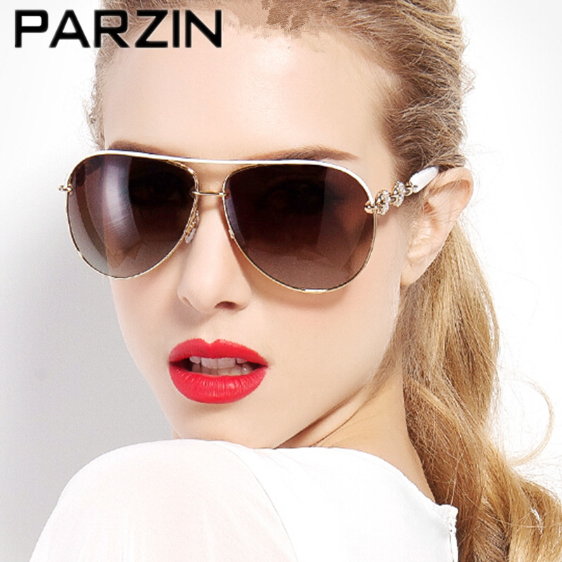 Parzin Handmade Rhinestone Polarized Sunglasses Women Luxury Female Sun Glasses For Driver Shades Helioscope Eyepiece 9613