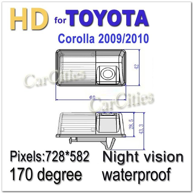 CCD HD car parking camera 170 degree for Toyota Corolla 2009,2010 Waterproof Shockproof Night version camera Size:68*42.43.3 mm