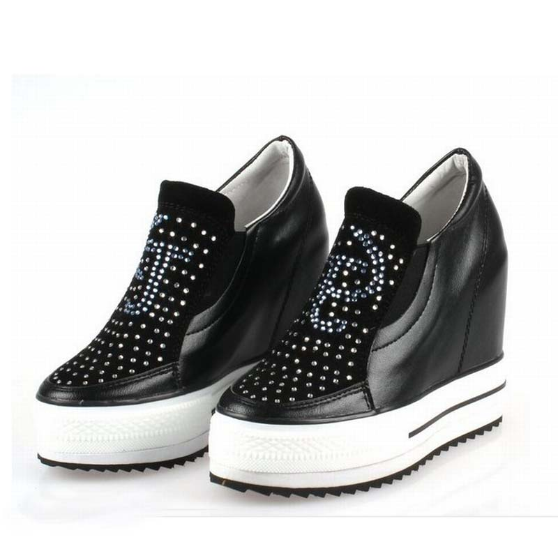 2017 women platform wedge genuine leather shoes woman high heels rhinestone zapatillas deportivas zapatos mujer womens casual