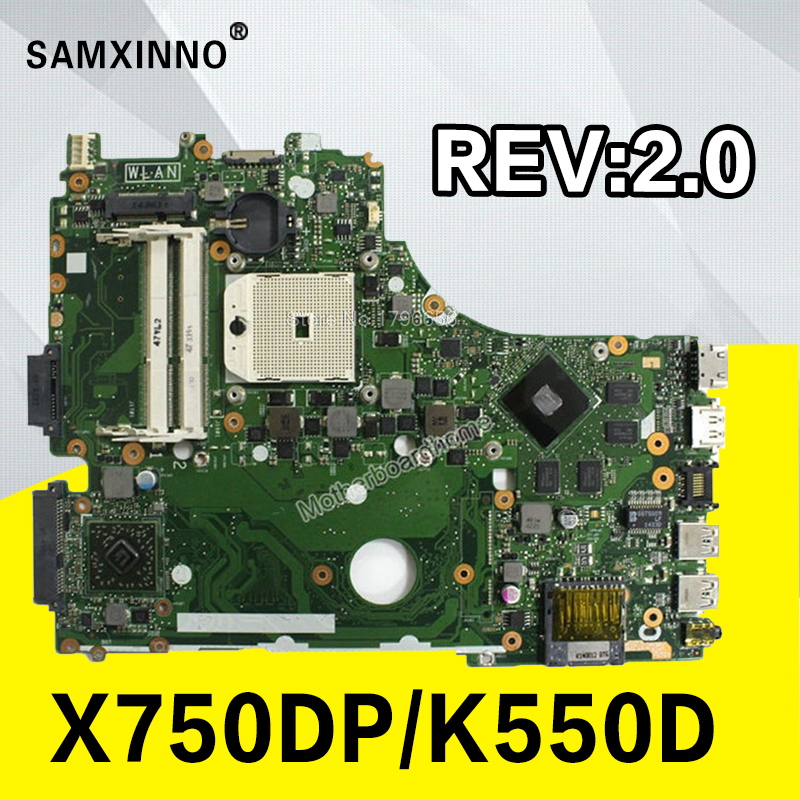 все цены на X750DP motherboard For ASUS X750DP K550D X550D K550DP X550DP laptop motherboard rev2.0 X750DP mainboard original 100% Test OK онлайн