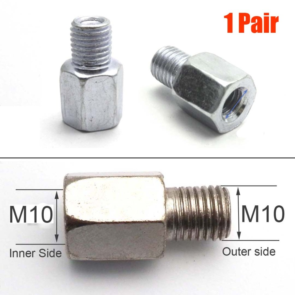 1 Pair (2 Pcs) Scooter Motorcycle Rear Mirror Adapters M10 10MM Right Left Hand Thread Changing Screw