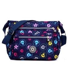 Women's fashion cloth shoulder bag More zipper printing floral women bag Waterproof nylon satchels preppy style crossbody bag