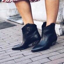 Зимние ковбойские сапоги из натуральной кожи до середины икры в западном стиле для женщин; байкерские сапоги на низком каблуке-шпильке; обувь для подиума