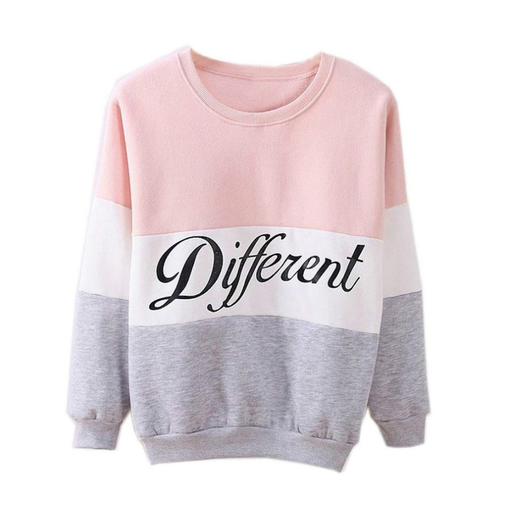 SAF-Hot Women's Letters Printed Different Mix Casual Loose Sweater Pullover