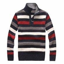 Winter Sweater Men Stripe stand collar pullover slim sweaters