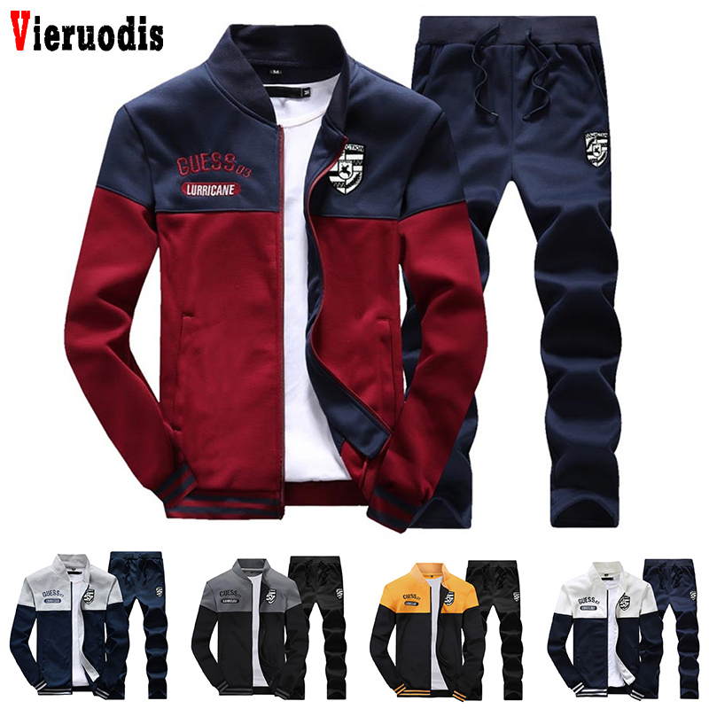 Men Slim Tracksuit Fashion New Arrival Sporting Suit Men Spring And Autumn Casual Sweatshirt+Sweatpants Two Pieces Tracksuit